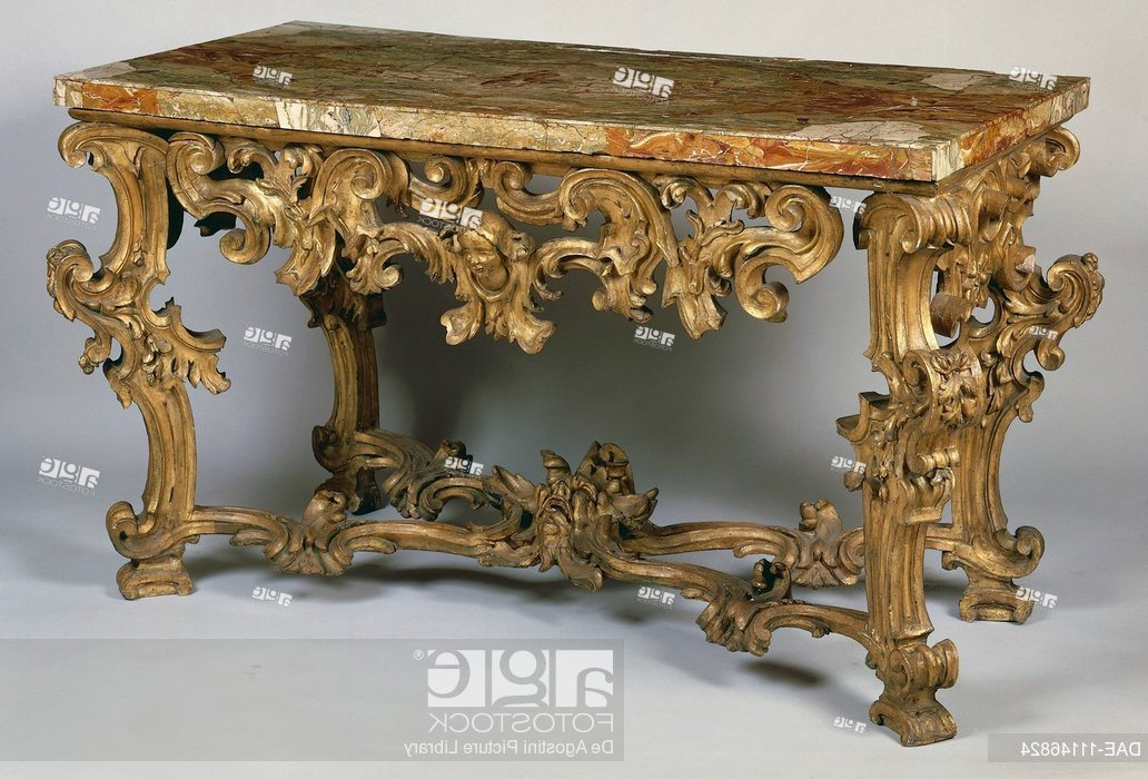 Roman Metal Top Console Tables Throughout Popular Rococo Style Roman Console Table, Inlaid And Gilded With Marble Top (View 10 of 20)