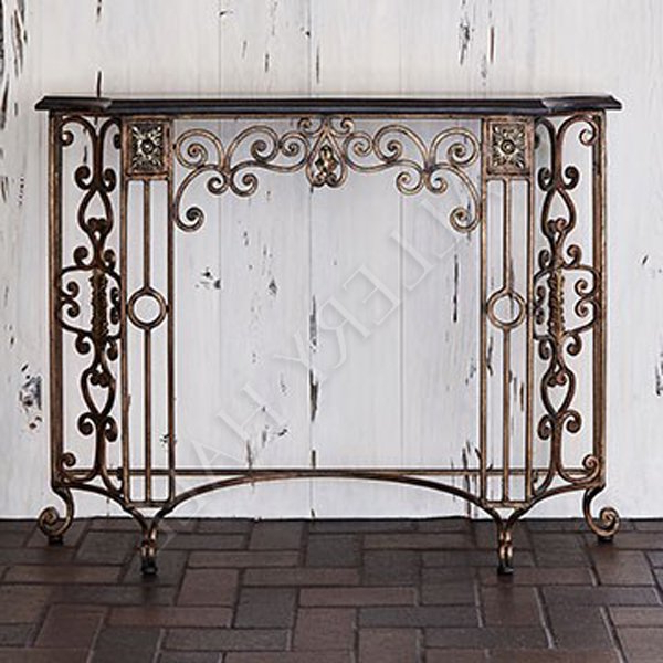 Roman Metal Top Console Tables Within Trendy Ornate Roman Console Table Granite Top Black & Gold : Mallery Hall (Gallery 17 of 20)
