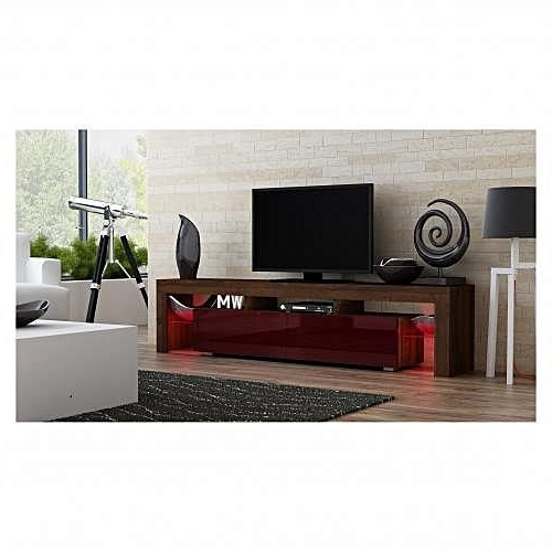 Romans Modern Tv Unit Cabinet Stand Brown Matt Body With Red High Inside Most Popular Red Modern Tv Stands (Gallery 15 of 20)