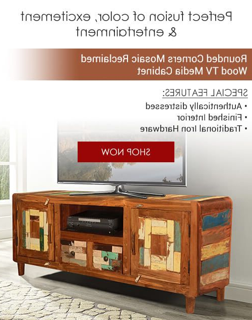 Rounded Corners Mosaic Reclaimed Wood Rustic Tv Media Cabinet In Pertaining To Famous Tv Stands Rounded Corners (View 13 of 20)