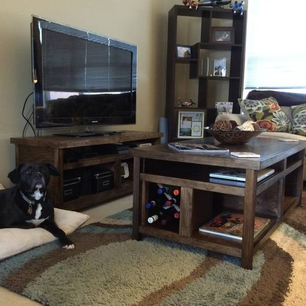 Rustic Coffee Table And Tv Stand Combo – Ryobi Nation Projects Within 2017 Rustic Coffee Table And Tv Stand (Gallery 1 of 20)