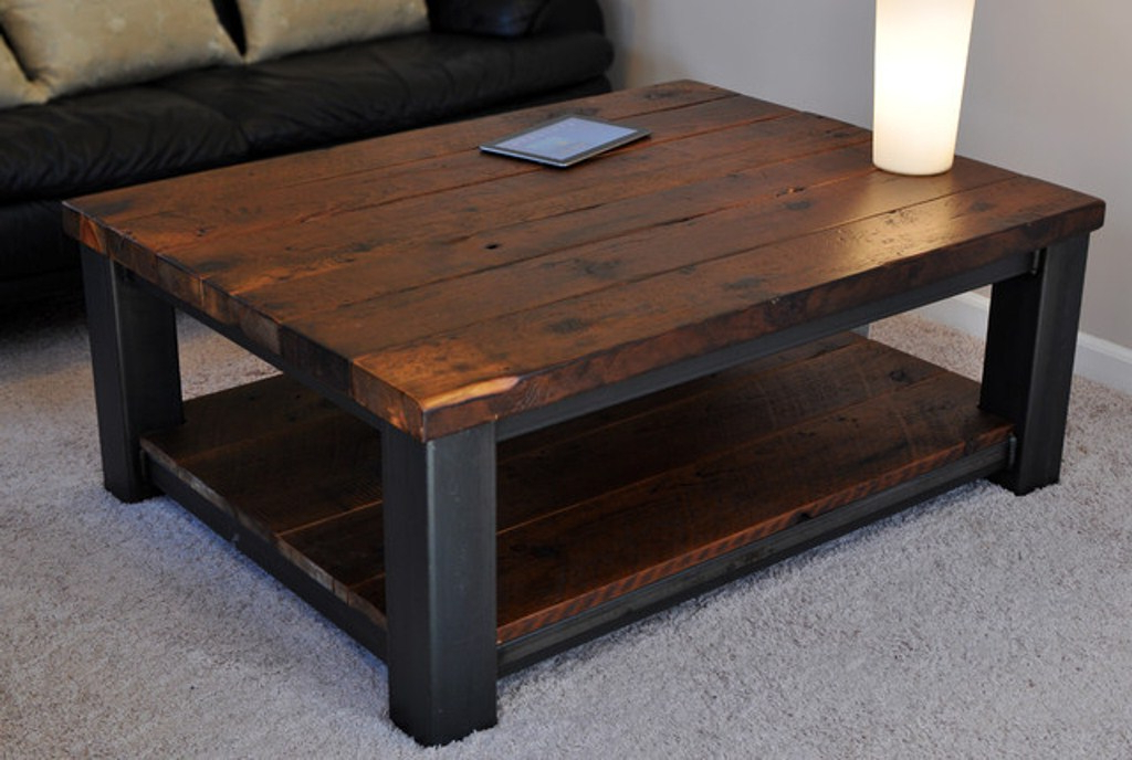 Rustic Coffee Table Within With Wheels Into The Glass Travertine Pertaining To 2018 Rustic Coffee Table And Tv Stand (Gallery 13 of 20)