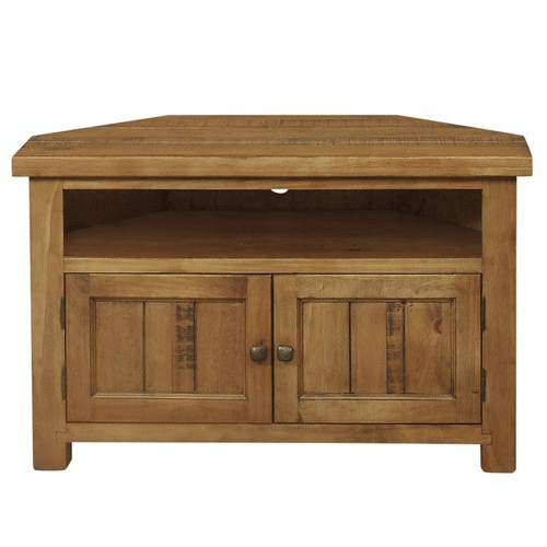 Rustic Corner Tv Cabinets Regarding Most Popular Cotswold Rustic Oak Corner Tv Unit – Brand Interiors (Gallery 9 of 20)