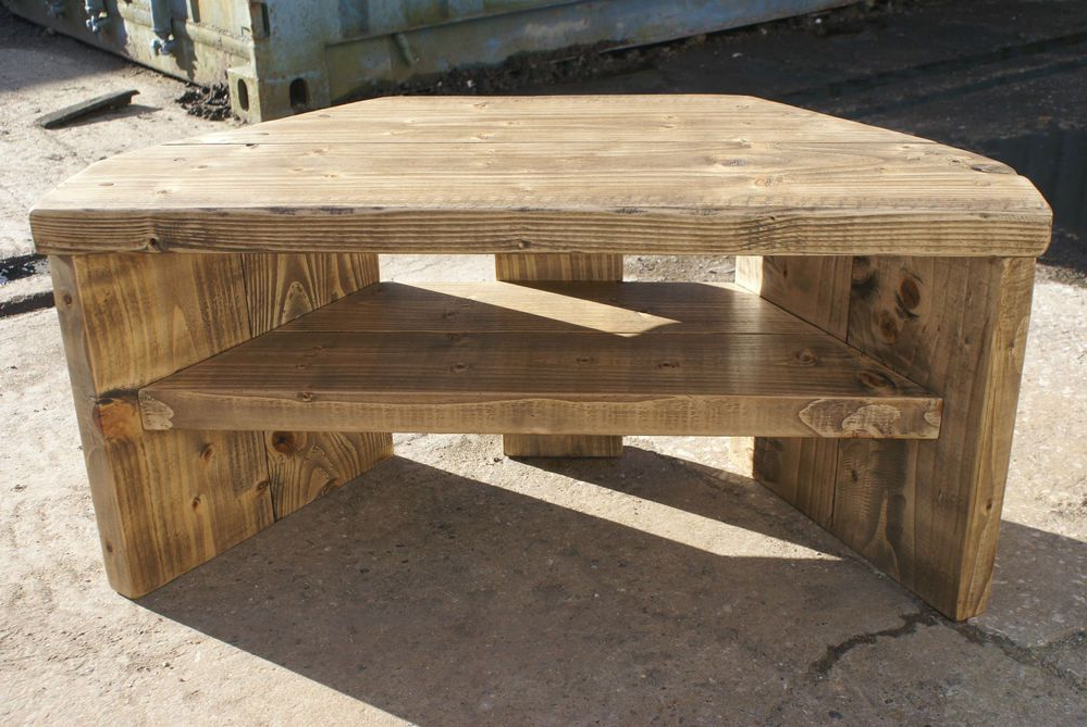 Rustic Corner Tv Stands For Famous Rustic Corner Tv Stand Solid Wood Unit Cabinet Plank Sleeper Oiled (Gallery 4 of 20)