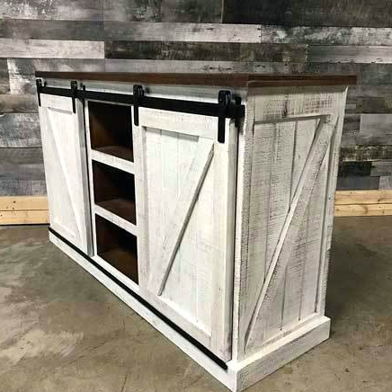 Rustic Furniture Tv Stands Barn Door Stand Distressed White Inch Intended For Well Liked Rustic White Tv Stands (Gallery 12 of 20)