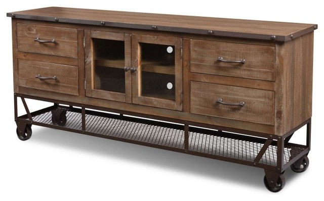 "Rustic Industrial Style 72"" Tv Stand/sideboard Console – Industrial Intended For Most Recently Released Industrial Tv Cabinets (View 17 of 20)"