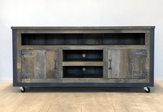 Rustic Industrial Weathered Barn Board Entertainment Center Tv Stand For Recent Rustic Wood Tv Cabinets (Gallery 14 of 20)