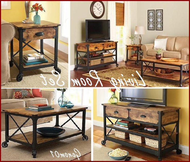 Rustic Living Room Set Coffee Table Tv Stand Nightstand For Fashionable Rustic Coffee Table And Tv Stand (View 19 of 20)