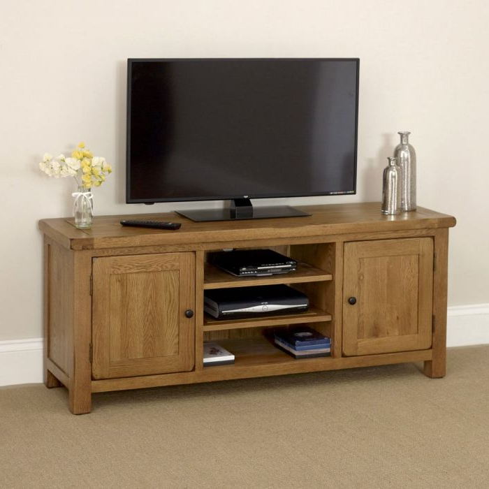 "Rustic Oak Widescreen Tv Unit Cabinet – To Fit Tv's Up To 60"" (Gallery 4 of 20)"