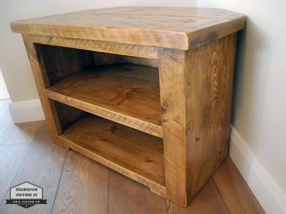 Rustic Pine Corner Tv Unit Solid Chunky Wood Stand/cabinet With Throughout Current Solid Pine Tv Cabinets (View 11 of 20)