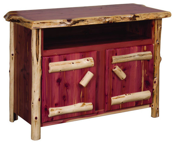 Rustic Red Tv Stands Inside Most Recent Rustic Red Cedar Log Tv Stand – Rustic – Entertainment Centers And (Gallery 9 of 20)