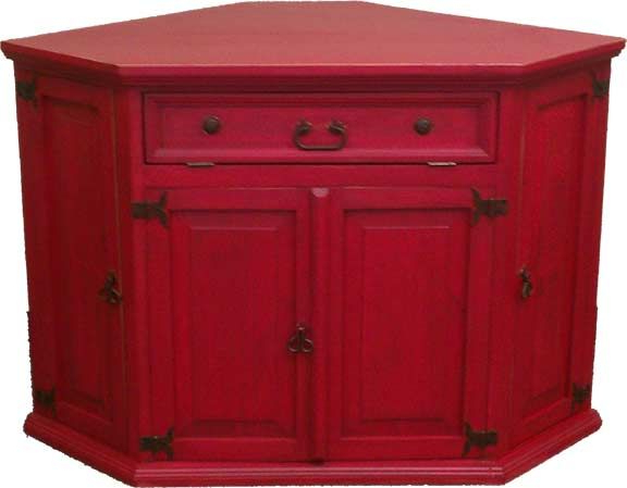 Rustic Red Tv Stands Within 2018 Santa Fe Antique Red Rustic Corner Tv Stand (View 7 of 20)