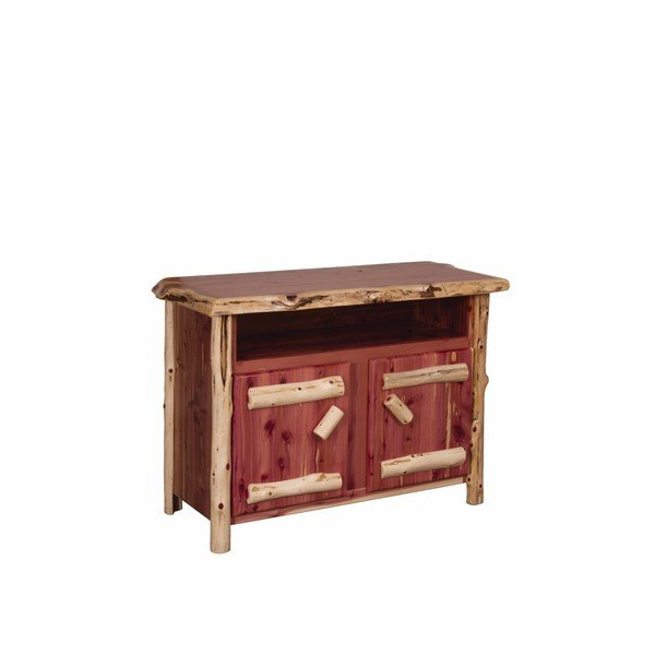 Rustic Red Tv Stands Within Most Recently Released Shop Rustic Red Cedar Log Entertainment/tv Stand – Free Shipping (Gallery 12 of 20)
