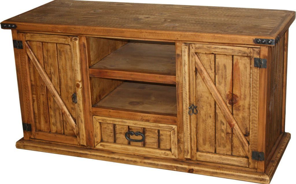 Rustic Tv Cabinets Within Popular Furniture: Chic Rustic Wooden Furniture Tv Stand Featuring Double (View 15 of 20)