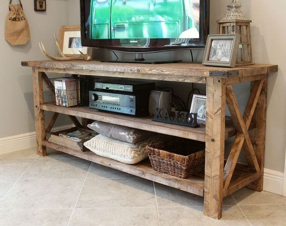 Rustic Tv Console Solid Wood Tv Console Entrywalkersrustics Regarding 2018 Rustic Tv Stands (Gallery 8 of 20)