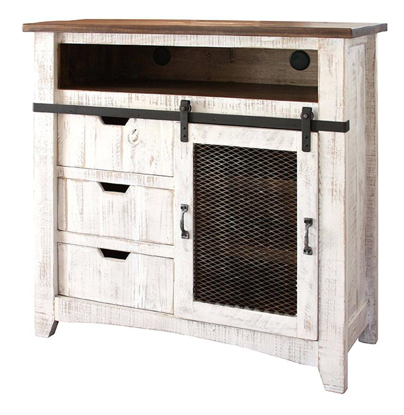 Rustic Tv Stand With Barn Doors Inch Entertainment Center Vintage Inside Latest White Rustic Tv Stands (View 14 of 20)