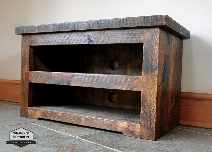 Rustic Tv Stands Regarding Fashionable Chunky Plank Tv Stand (View 16 of 20)