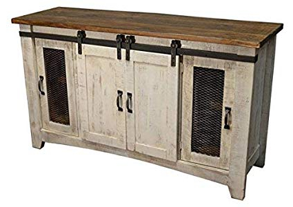 "Rustic Tv Stands Within Most Current Anton White 80"" Rustic Tv Stand: Amazon (View 16 of 20)"