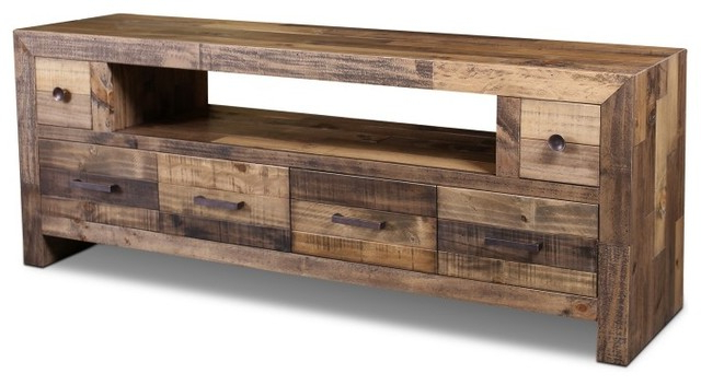 """Rustic Tv Stands Within Recent Rustic Style Fulton Tv Stand, 72"""" – Contemporary – Entertainment (Gallery 1 of 20)"""