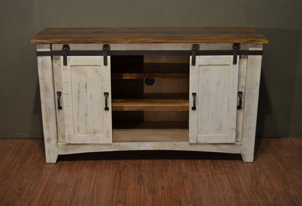 "Rustic White Tv Stands Within Newest Greenview Sliding Door Distressed White Tv Stand – 60"" (View 8 of 20)"