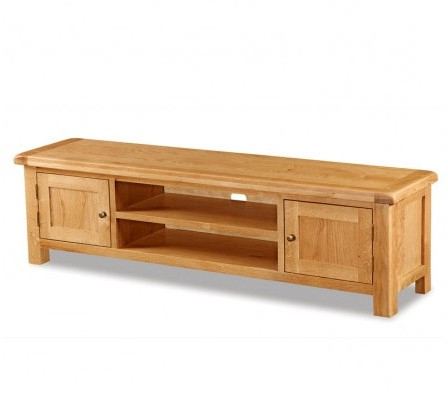 Rustic Wood Tv Cabinets For 2018 Chf Global Home Salisbury Rustic Solid Oak Low Line Tv Unit – Tv (View 7 of 20)