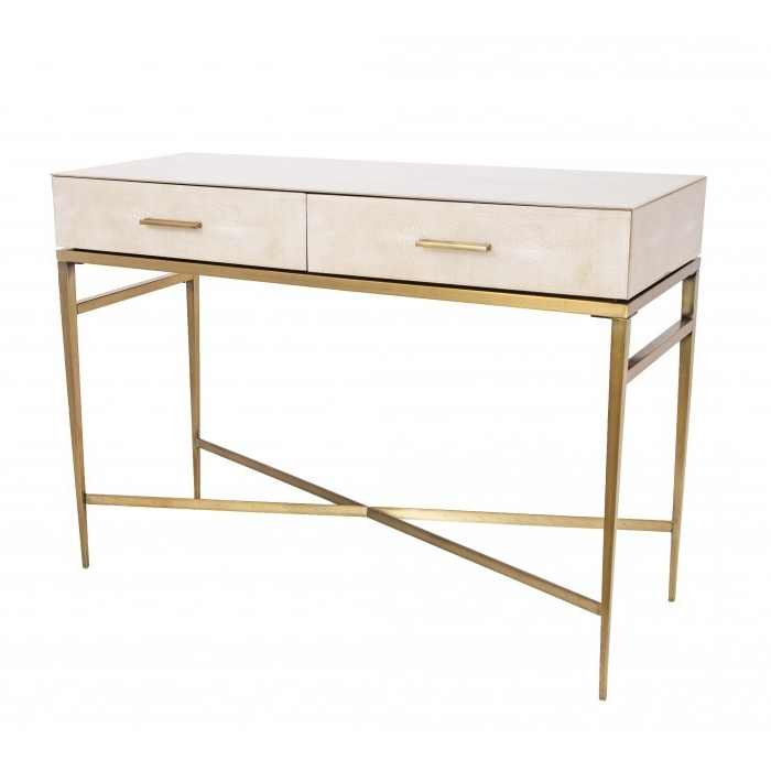 Rv Astley Console Table Esta In Faux Shagreen (View 2 of 20)