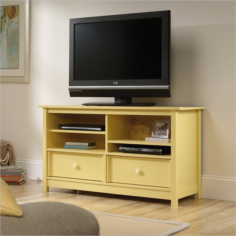 Sauder Original Cottage Tv Stand In Melon Yellow –  (View 14 of 20)