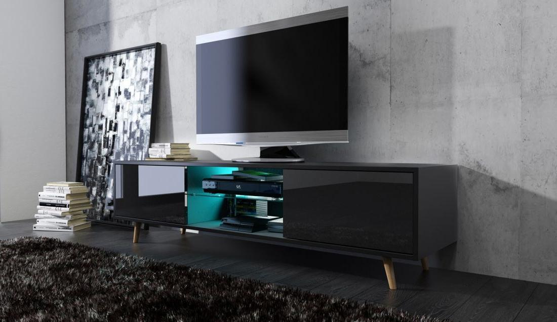 Scandinavian Design Tv Cabinets Pertaining To Most Recent Jönköping Scandinavian Style Tv Cabinet Black – Living Room (View 11 of 20)