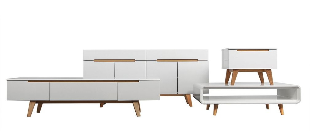 Scandinavian Style Glossy White And Ash Tv Stand 180cm Melka – Miliboo Pertaining To Well Known Scandinavian Tv Stands (View 7 of 20)