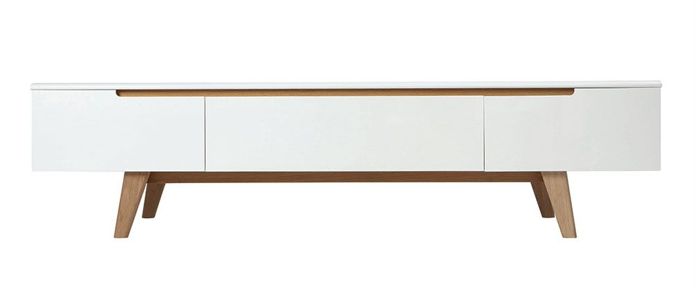 Scandinavian Tv Stands Inside Most Recently Released Scandinavian Style Glossy White And Ash Tv Stand 180cm Melka – Miliboo (View 5 of 20)