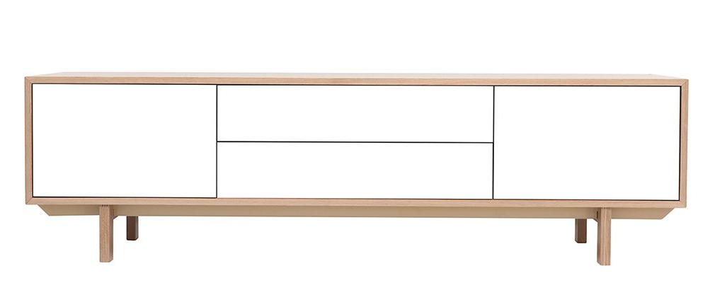 Scandinavian Wood And White Tv Stand 180 Cm Sid – Miliboo Inside Newest Scandinavian Tv Stands (View 12 of 20)