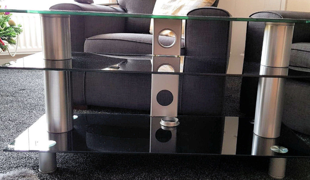 Serano Black Tempered Glass 3 Tier Slimline Tv Stand Has Chrome Legs For Well Known Slim Line Tv Stands (View 17 of 20)
