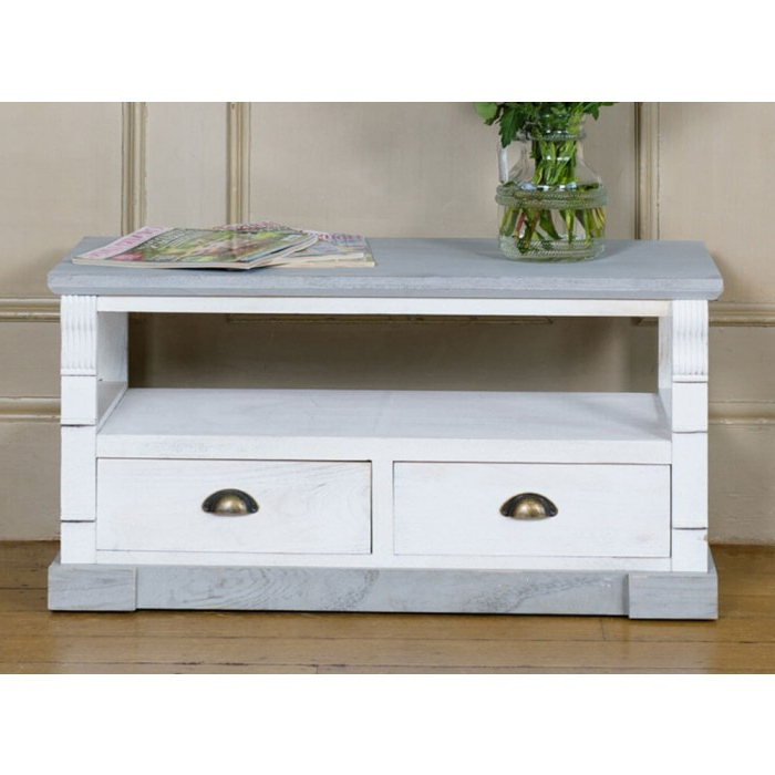 Shabby Chic Tv Unit With Two Drawers With 2017 Shabby Chic Tv Cabinets (View 16 of 20)