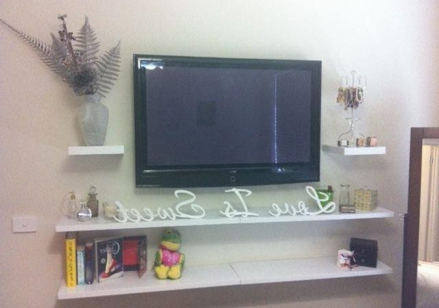 Shelves For Tvs On The Wall For Well Known 21 Cool Wall Mount Tv Shelf Ideas – Gabe & Jenny Homes (View 13 of 20)