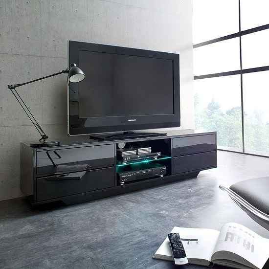 Shiny Black Tv Stands For Well Known Sienna Tv Stand Unit In Black High Gloss With Led Lights (View 18 of 20)