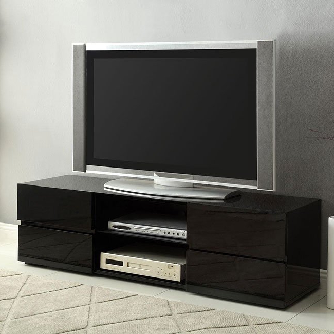 Shiny Black Tv Stands Throughout Popular High Gloss Black Tv Stand W/ Storage Drawerscoaster Furniture (View 11 of 20)