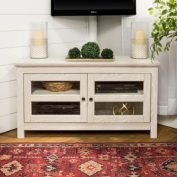 "Shop 44"" Corner Tv Stand Console – White Wash – 44 X 16 X 23H – Free With Most Recent Wooden Corner Tv Stands (View 15 of 20)"