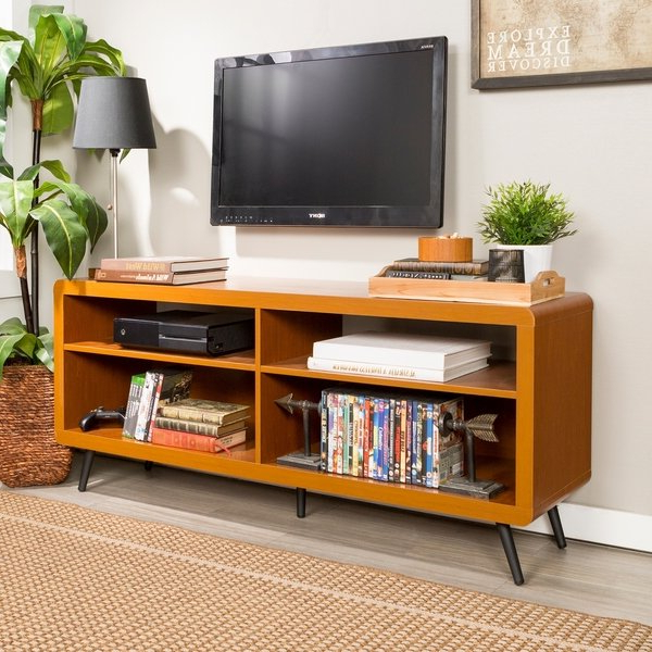 """Shop 58"""" Tv Stand Console – Acorn – 58 X 16 X 24h – Free Shipping Inside Newest Tv Stands With Rounded Corners (View 6 of 20)"""