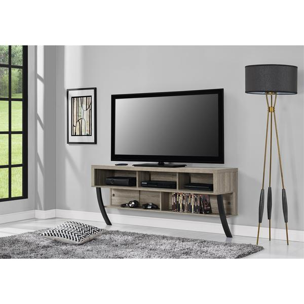 Shop Avenue Greene Yale Wall Mounted Weathered Oak Tv Stand For Tvs Within Popular Wall Mounted Tv Racks (View 11 of 20)