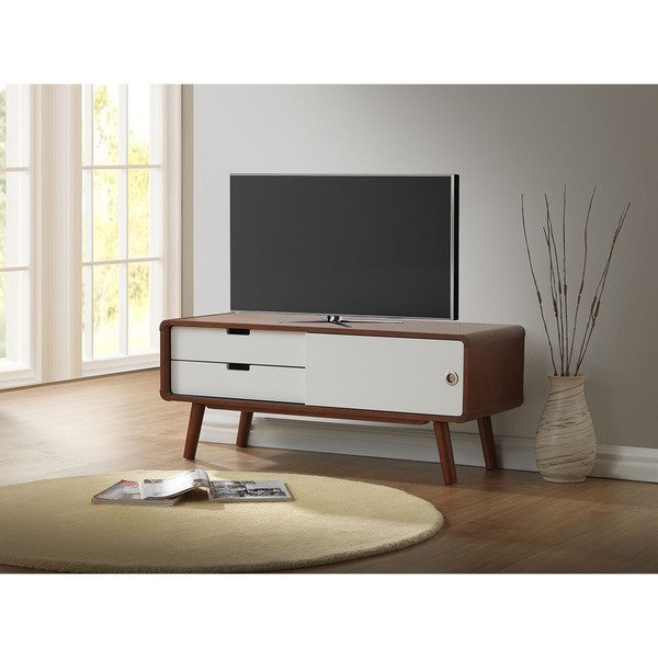 Shop Baxton Studio Armani Mid Century Dark Walnut And White Tv Stand In Trendy White Tv Stands For Flat Screens (View 13 of 20)
