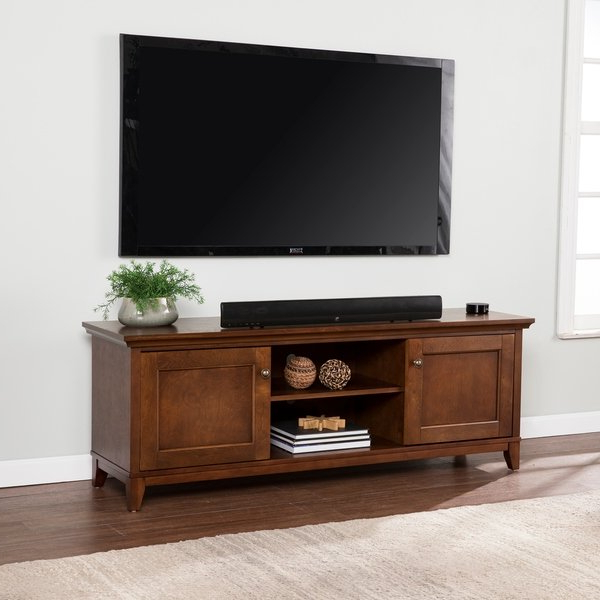 Shop Copper Grove Heliotrope Whiskey Maple Tv/ Media Stand – On Sale Regarding 2018 Maple Tv Stands For Flat Screens (View 7 of 20)