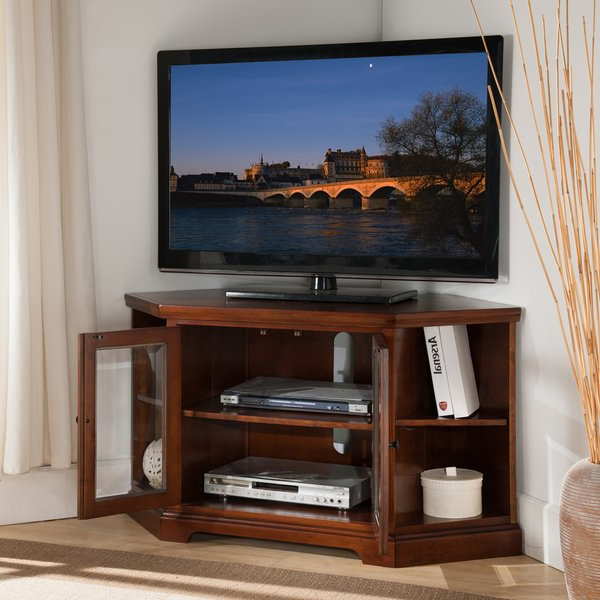 Shop Copper Grove Jabrosa Cherry 46 Inch Corner Tv Stand With Within Preferred Tv Stands With Bookcases (View 17 of 20)