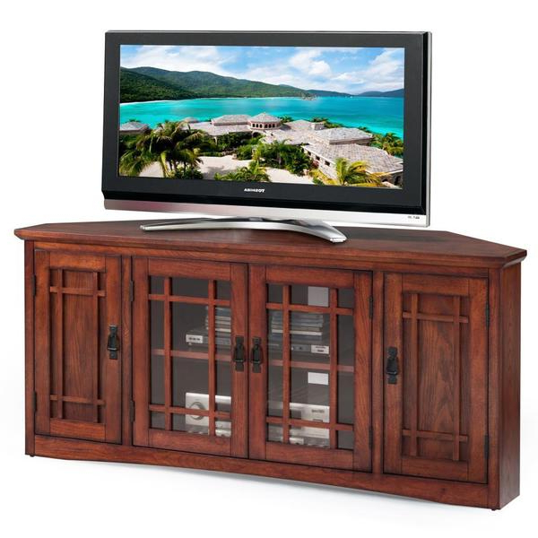 Shop Copper Grove Janie Mission Oak Hardwood 57 Inch Corner Tv Stand Regarding 2017 Corner Tv Stands For 60 Inch Flat Screens (View 11 of 20)