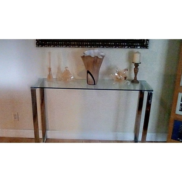 Shop Cortesi Home Remi Contemporary Chrome Finish Glass Console Regarding Well Known Remi Console Tables (View 10 of 20)