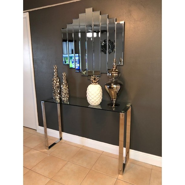 Shop Cortesi Home Remi Contemporary Chrome Finish Glass Console With Recent Remi Console Tables (View 19 of 20)