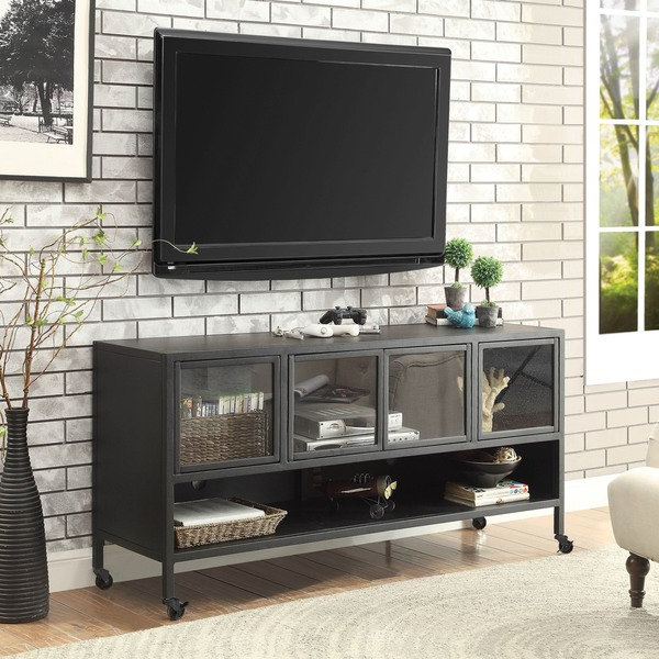 Shop Furniture Of America Beckham Industrial Metal Tv Stand – On With Trendy Industrial Metal Tv Stands (View 5 of 20)