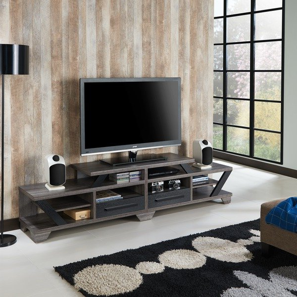 Shop Furniture Of America Mezu Contemporary Two Tone Distressed Grey Throughout Most Recently Released Open Shelf Tv Stands (View 13 of 20)