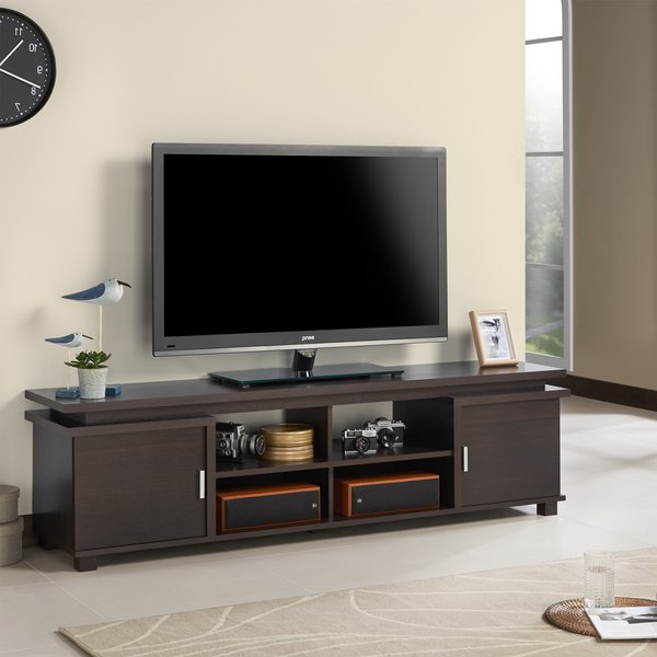 Shop Furniture Of America Mollens Espresso Open Storage 70 Inch Tv Inside Popular Tv Stands For 43 Inch Tv (View 15 of 20)