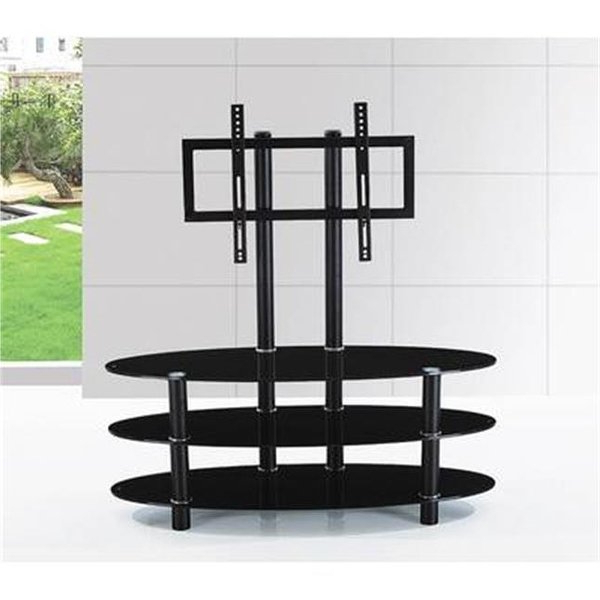 Shop Hodedah Hitv2501 Oval Glass Tv Stand With Mount – Free Shipping Intended For Widely Used Oval Glass Tv Stands (View 18 of 20)