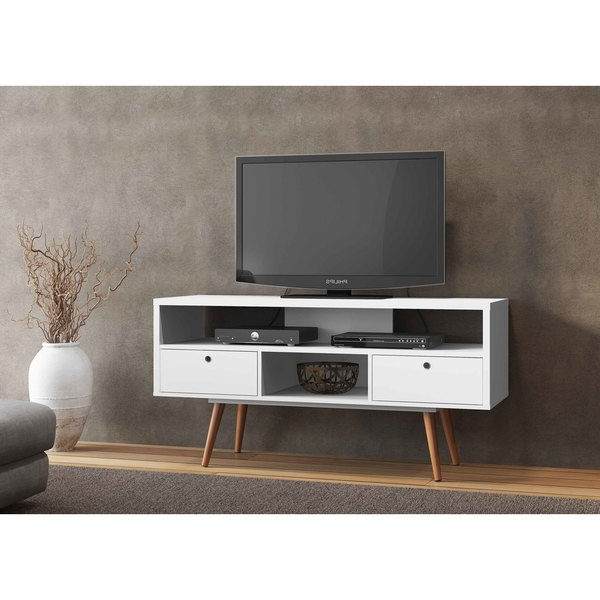 Shop Jessie White Wood Tv Stand – Free Shipping Today – Overstock Pertaining To Newest White And Wood Tv Stands (View 9 of 20)